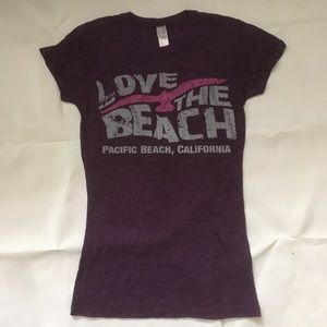 Lightweight purple Live The Beach t shirt.
